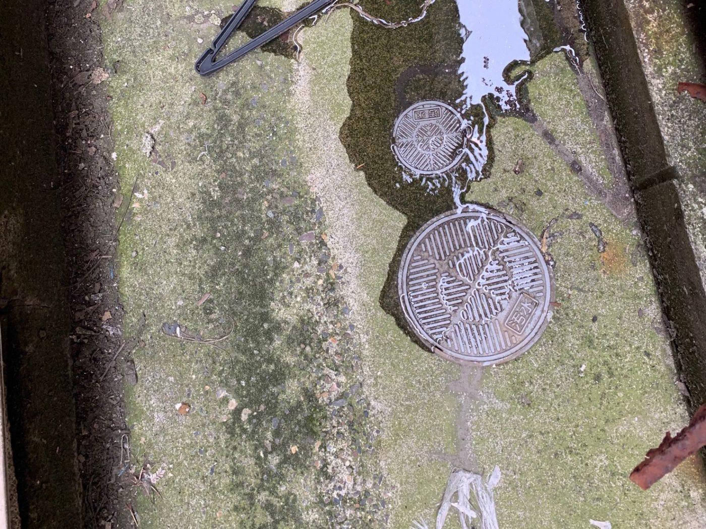 トイレのつまりの原因、汚水桝から汚水が溢れている